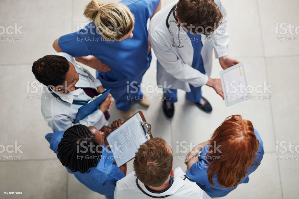 Monitoring the health of their patients stock photo