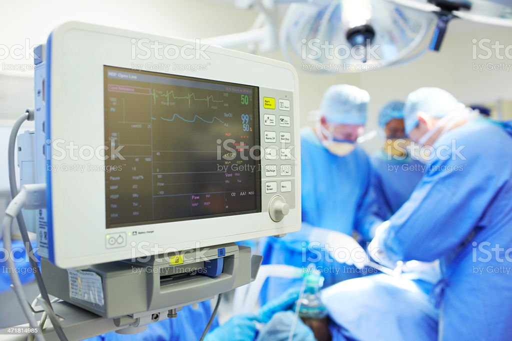 Monitoring the patient's wellbeing stock photo