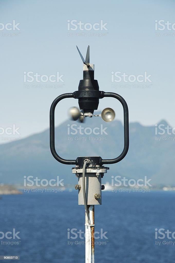 Monitoring weather by an anemometer royalty-free stock photo