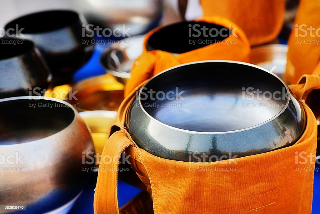 Monk alms bowl for Buddhist ceremony stock photo