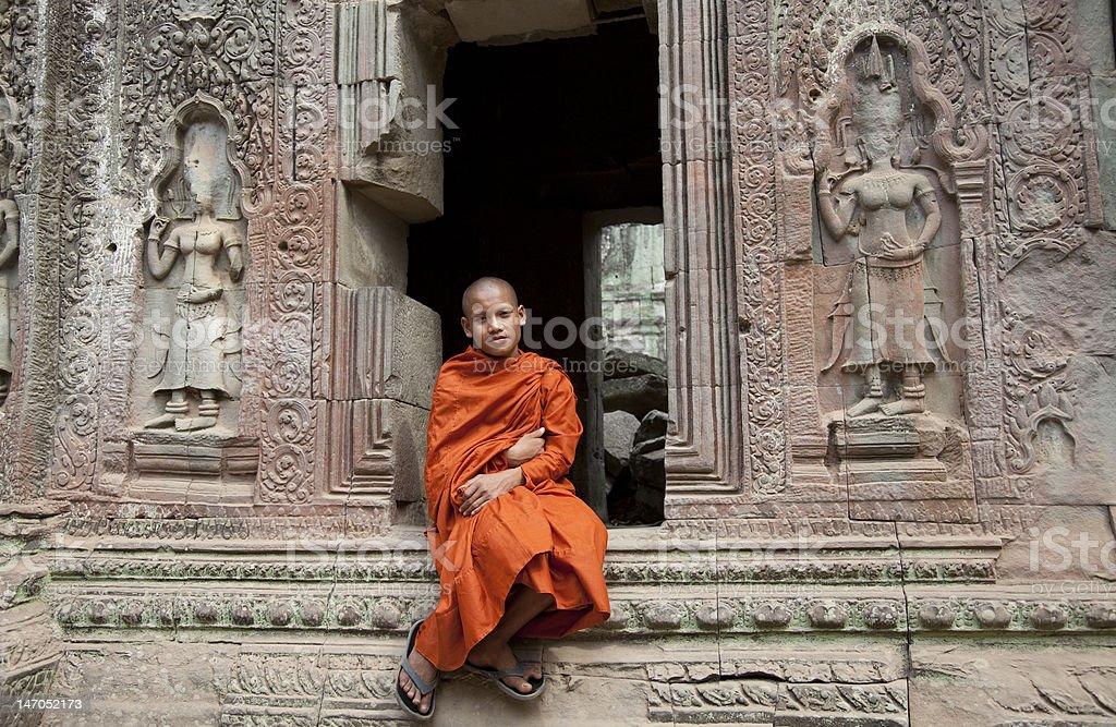 monk at Angkor temple royalty-free stock photo