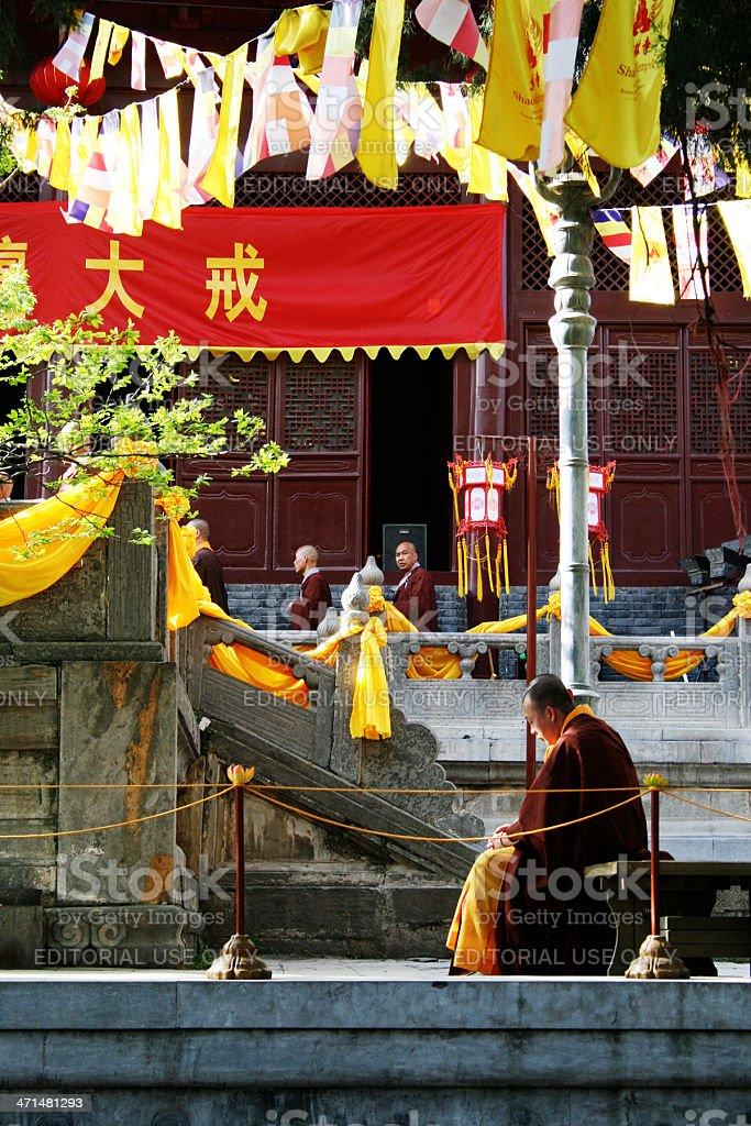 Monaco al Tempio di Shaolin foto stock royalty-free