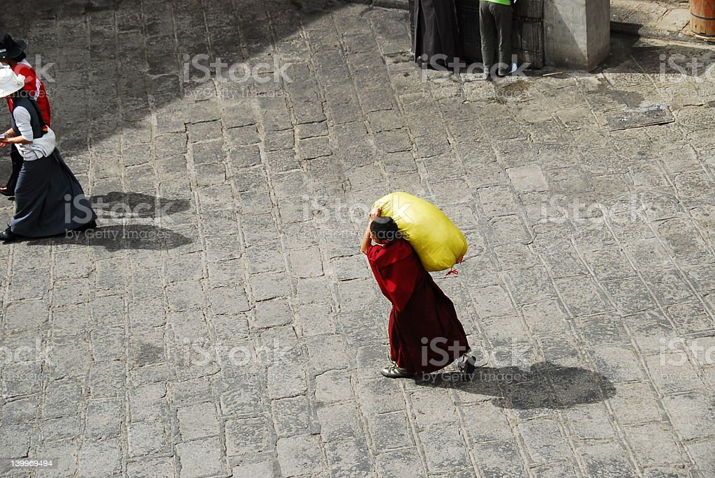 monk at work stock photo