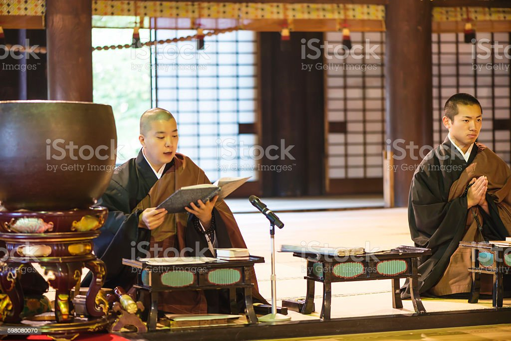 Monk ceremony in temple stock photo