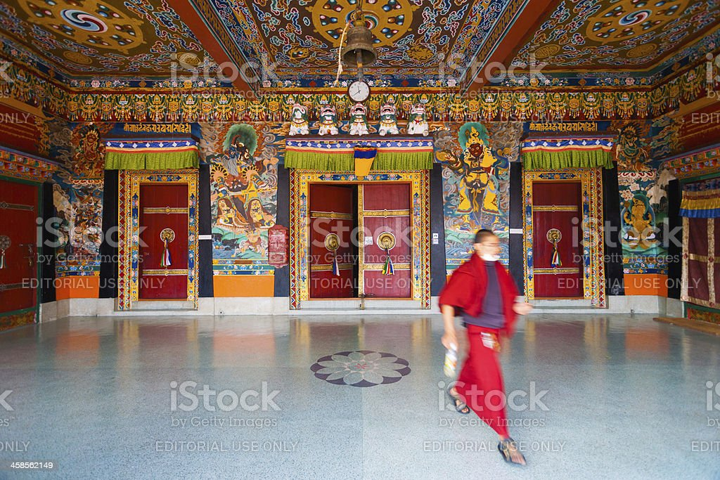 Monk Entrance Rumtek Monastery Doors Ceiling royalty-free stock photo