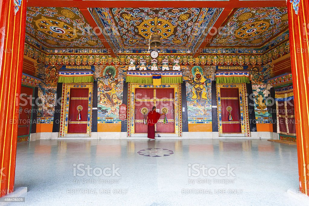 Monk Entrance Rumtek Monastery Locking Doors stock photo