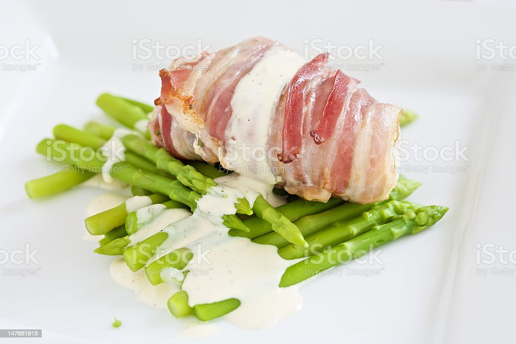 Monk fish with lemon mayonaise and asparagus royalty-free stock photo