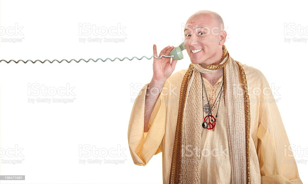Monk Grins On Phone Call royalty-free stock photo