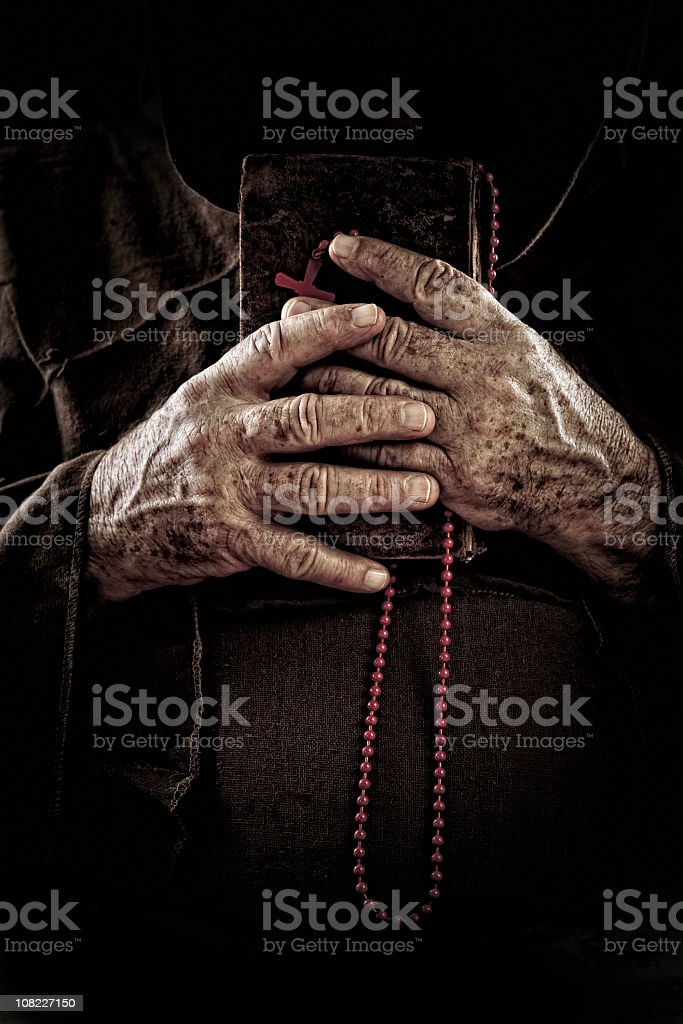 monk hands royalty-free stock photo