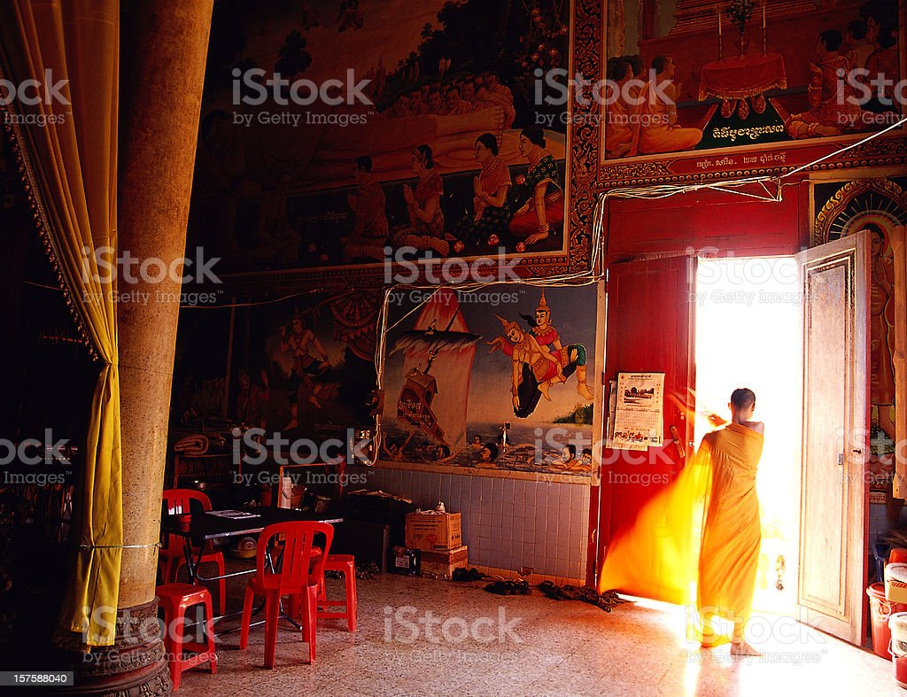 Monk in a monastery in Cambodia royalty-free stock photo