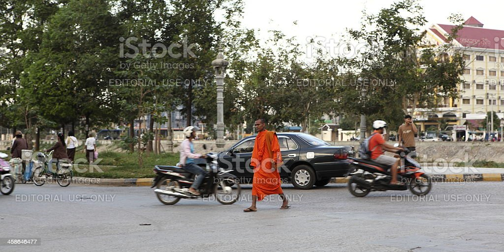 Monk in Battambang, Cambodia stock photo