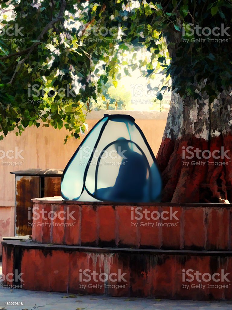 Monk in deep meditation stock photo