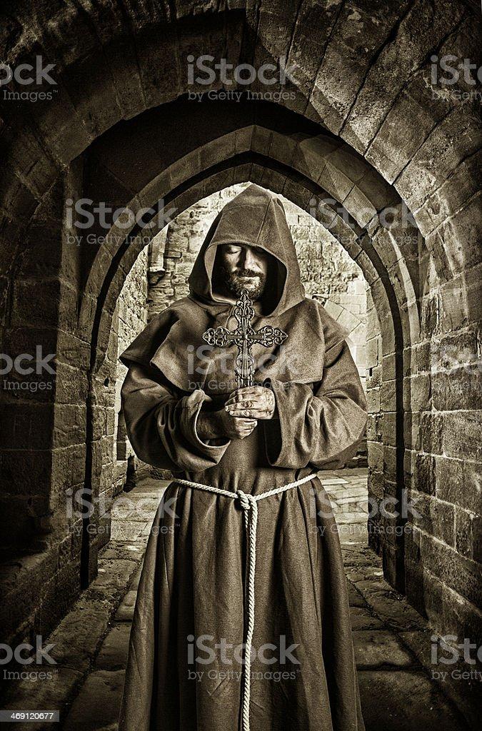 Monk in monastery stock photo