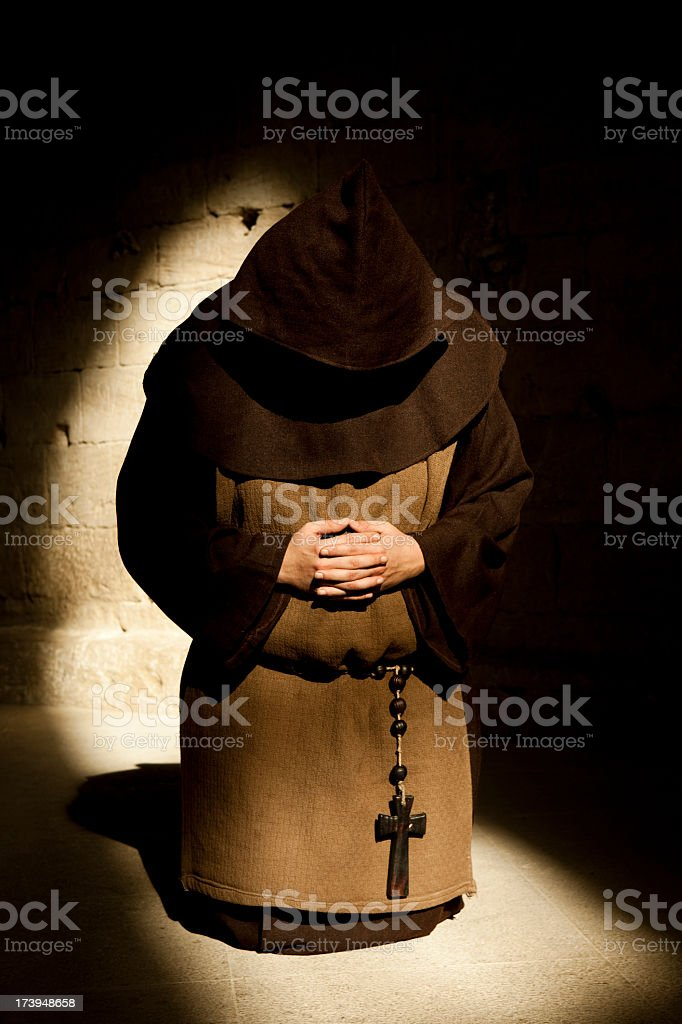 Monk in Prayer royalty-free stock photo