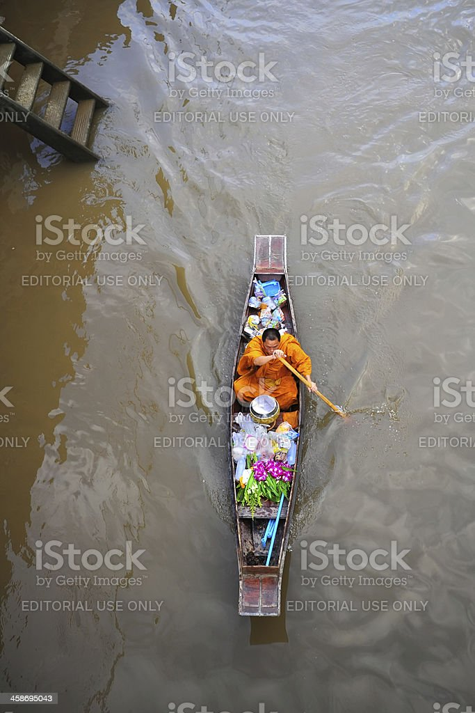 Monk in the river royalty-free stock photo