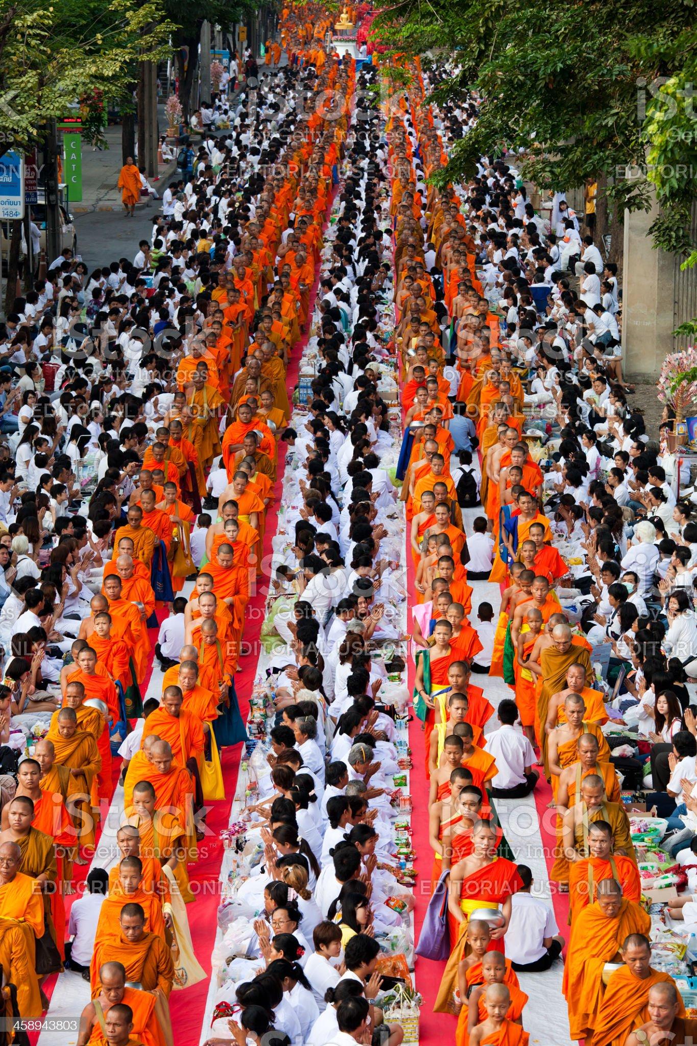 Monk Mass Alms Giving in Bangkok royalty-free stock photo