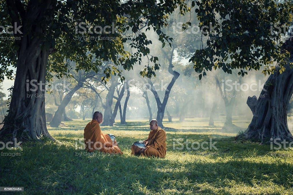 monk meditating in area around wilderness stock photo