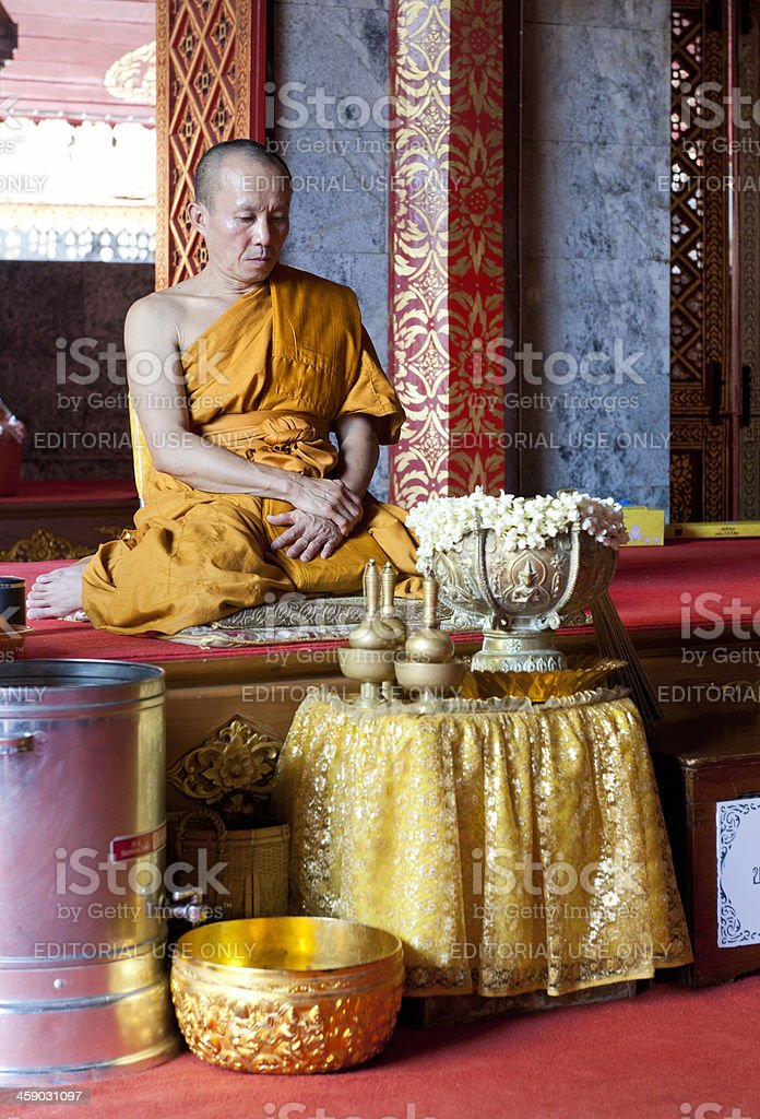 monk meditating in Buddhist temple Thailand royalty-free stock photo