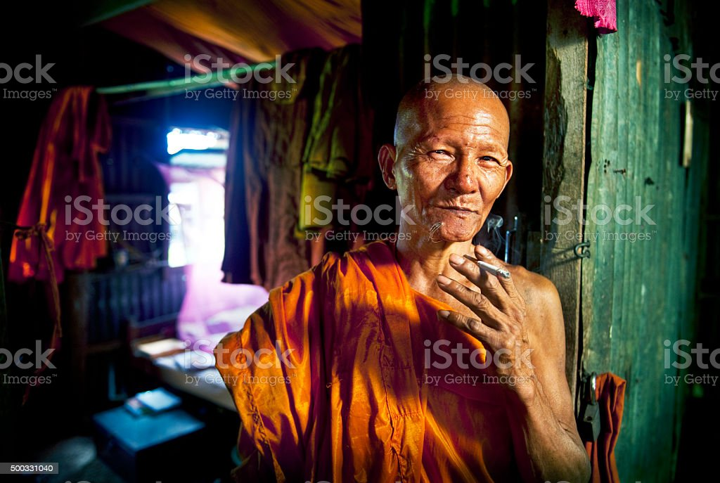 Monk Monastry Potrait Traditonal Culture Characters Concept stock photo