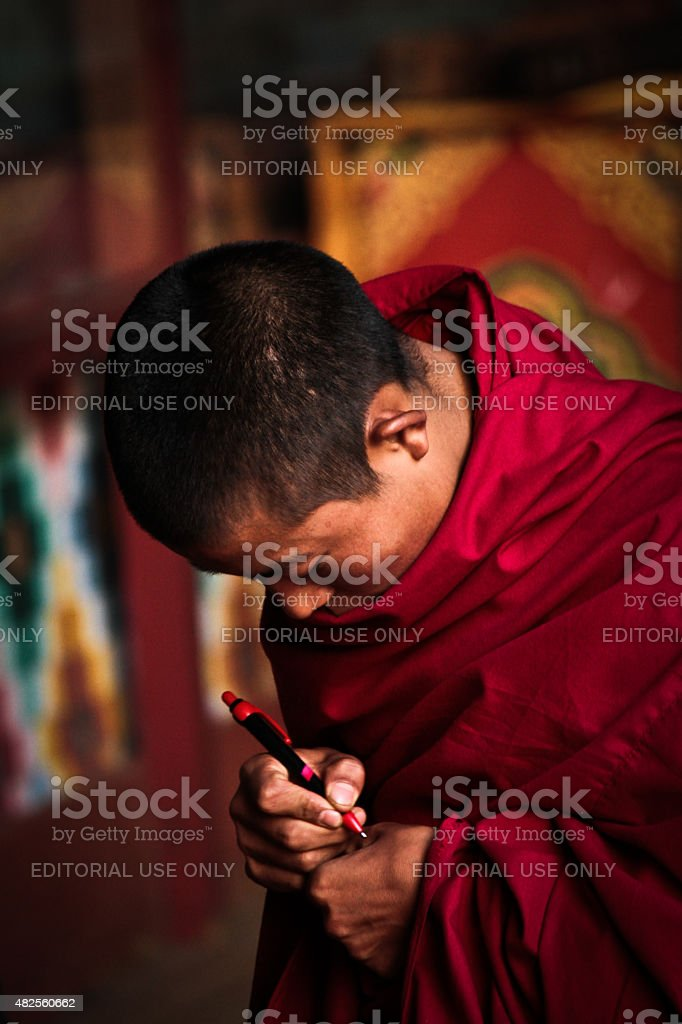 Monk of The Rinpung Dzong Fort, Paro, Bhutan stock photo