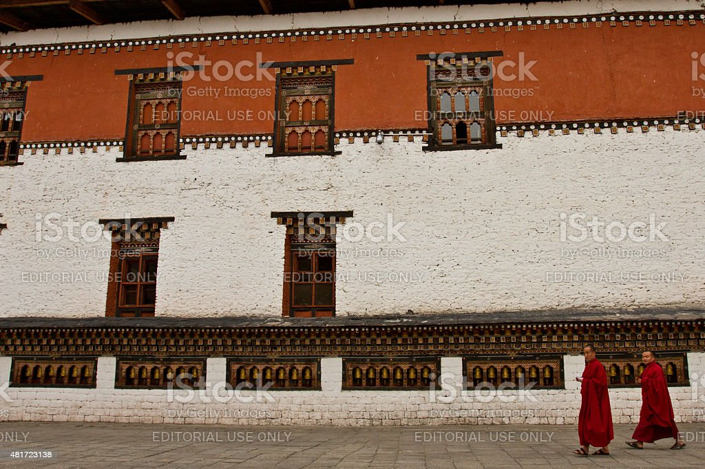 Monk of The Tashi Chho Dzong Fortress, Thimpu, Bhutan stock photo