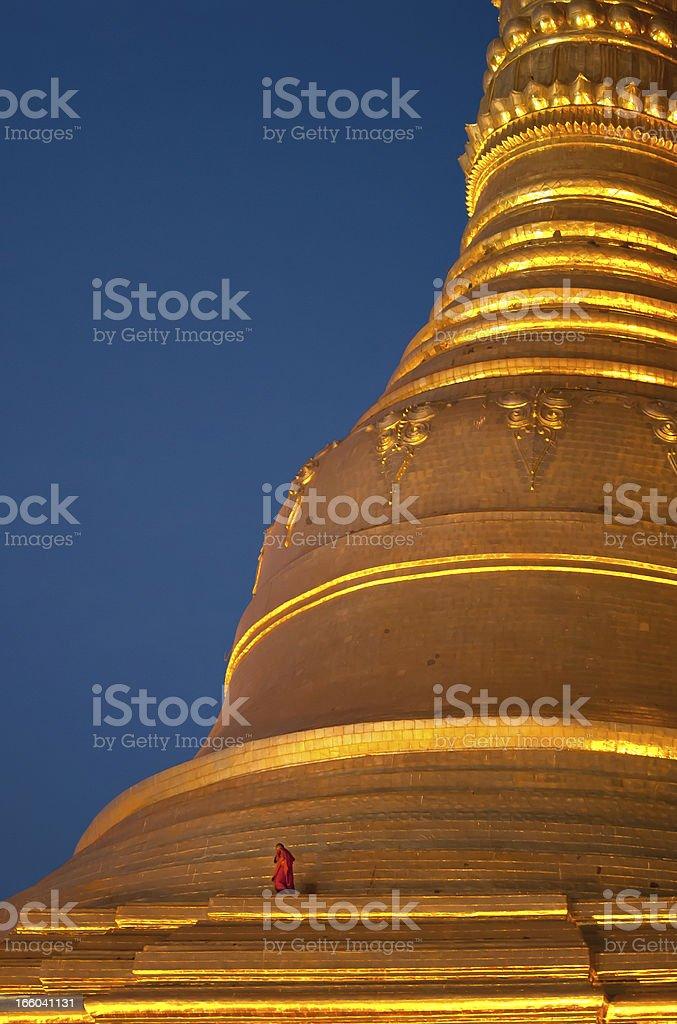 Monk on Shwedagon Pagoda royalty-free stock photo