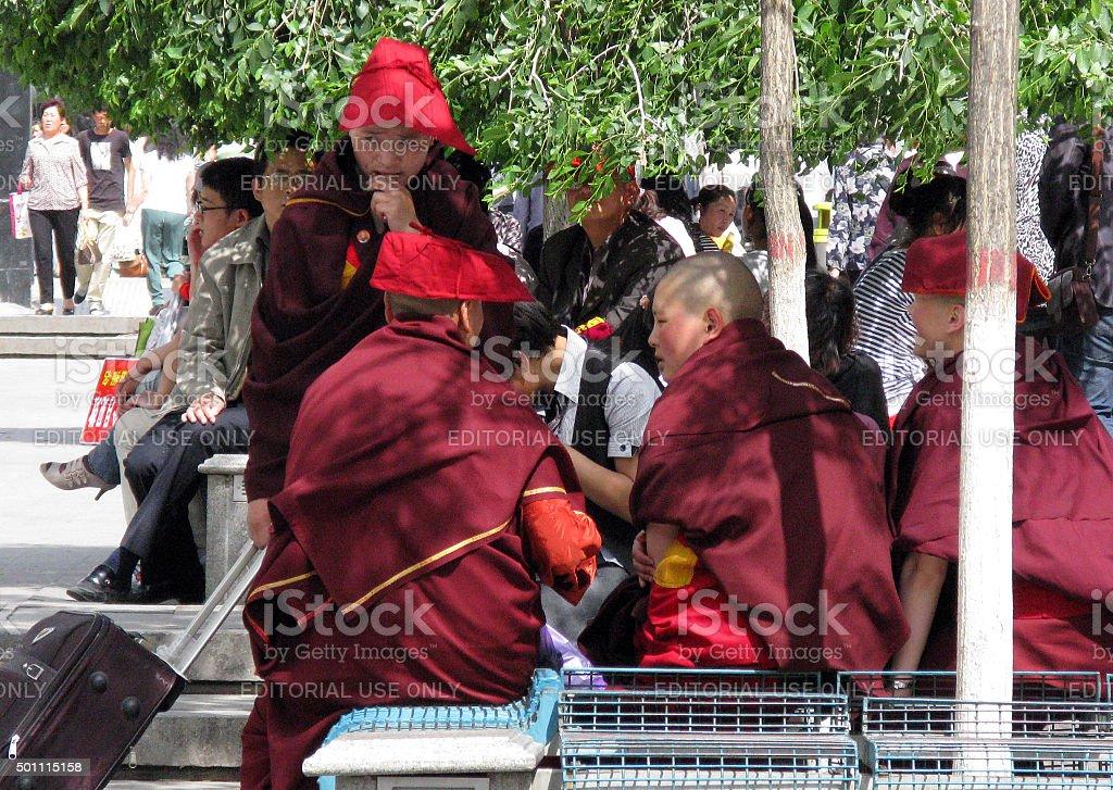 Monk on the Go stock photo