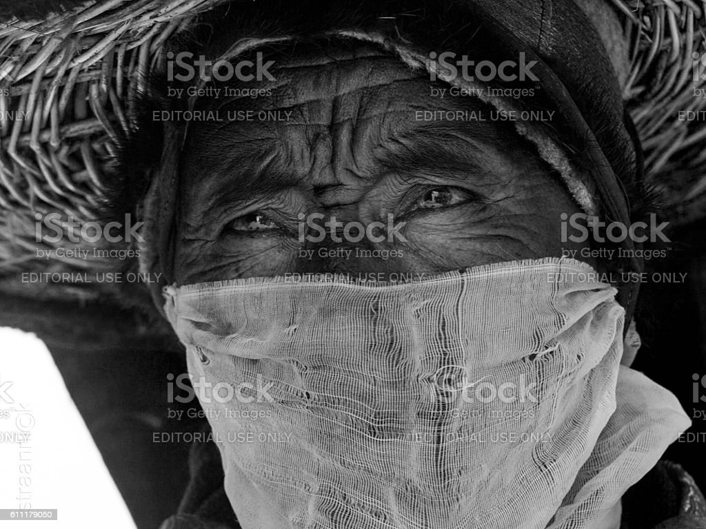 Monk performs sacred 'black hat dance' at Cham Dance Festival stock photo