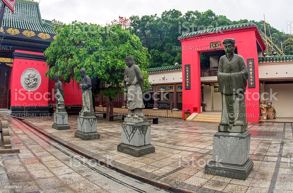 Monk statues at Taoist temple in Hong Kong stock photo