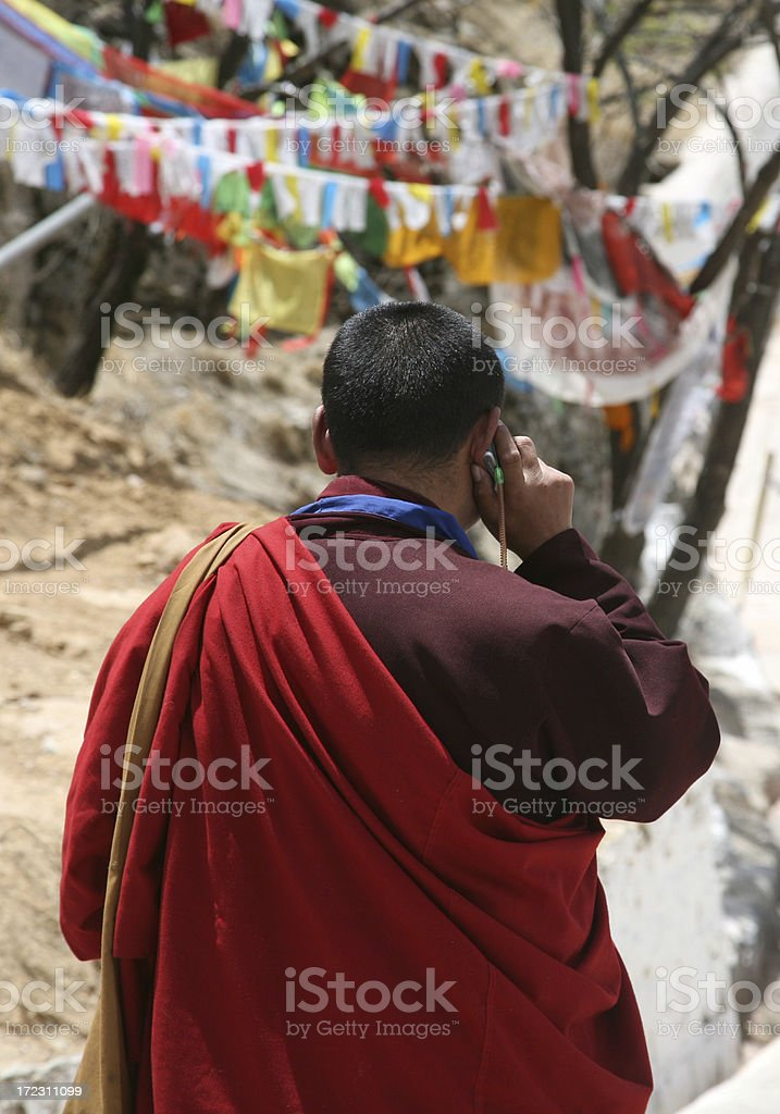 Monk Using Mobile Phone royalty-free stock photo