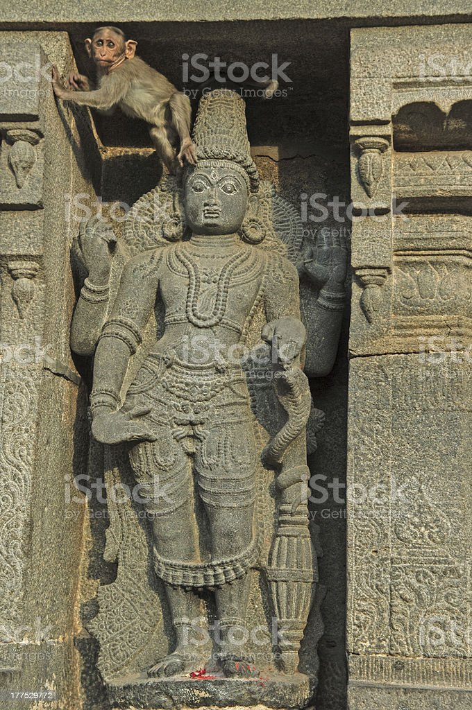 monkeand a statue at Arunachaleswar Temple. Tiruvannamalai, royalty-free stock photo
