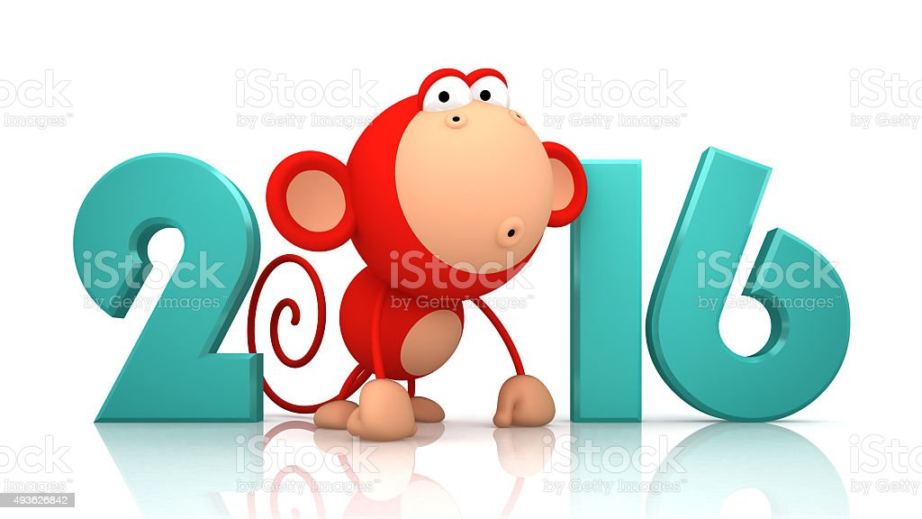 Monkey and 2016 on white background stock photo