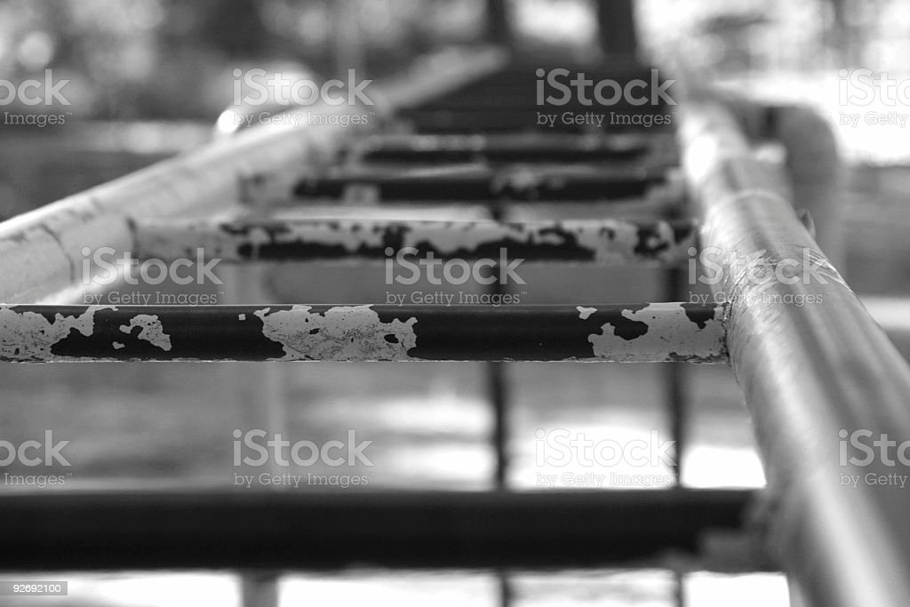 monkey bars bw royalty-free stock photo