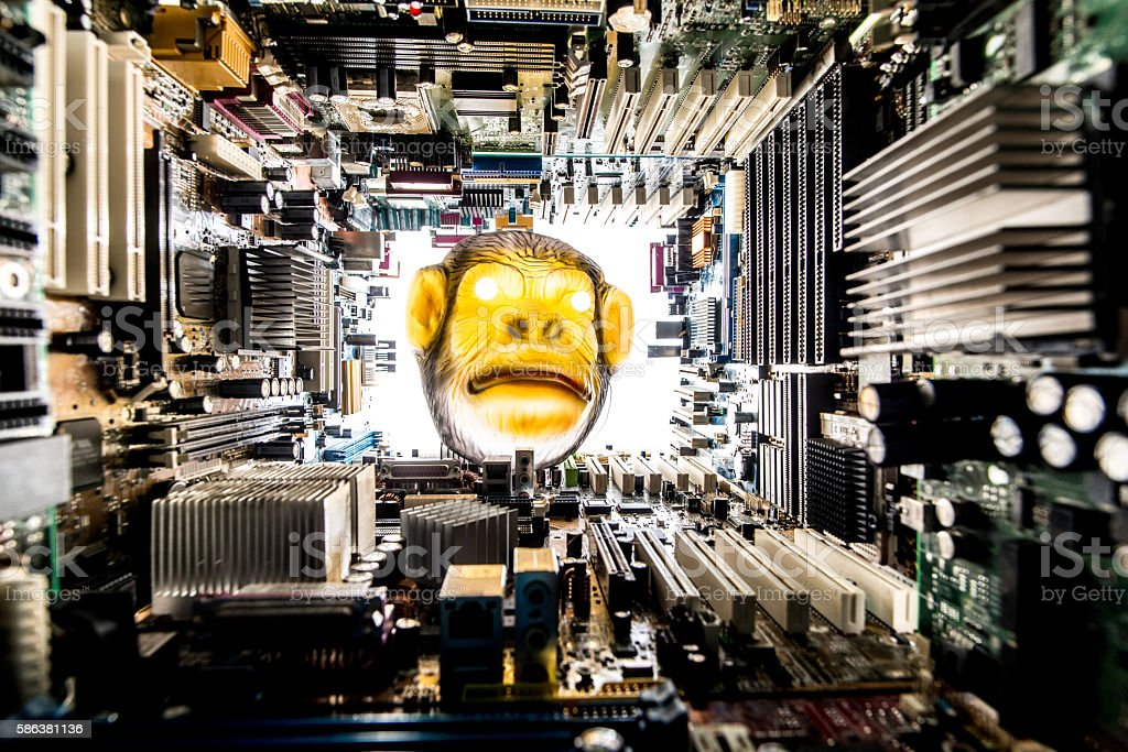 Monkey looking at Technology environment - concept stock photo