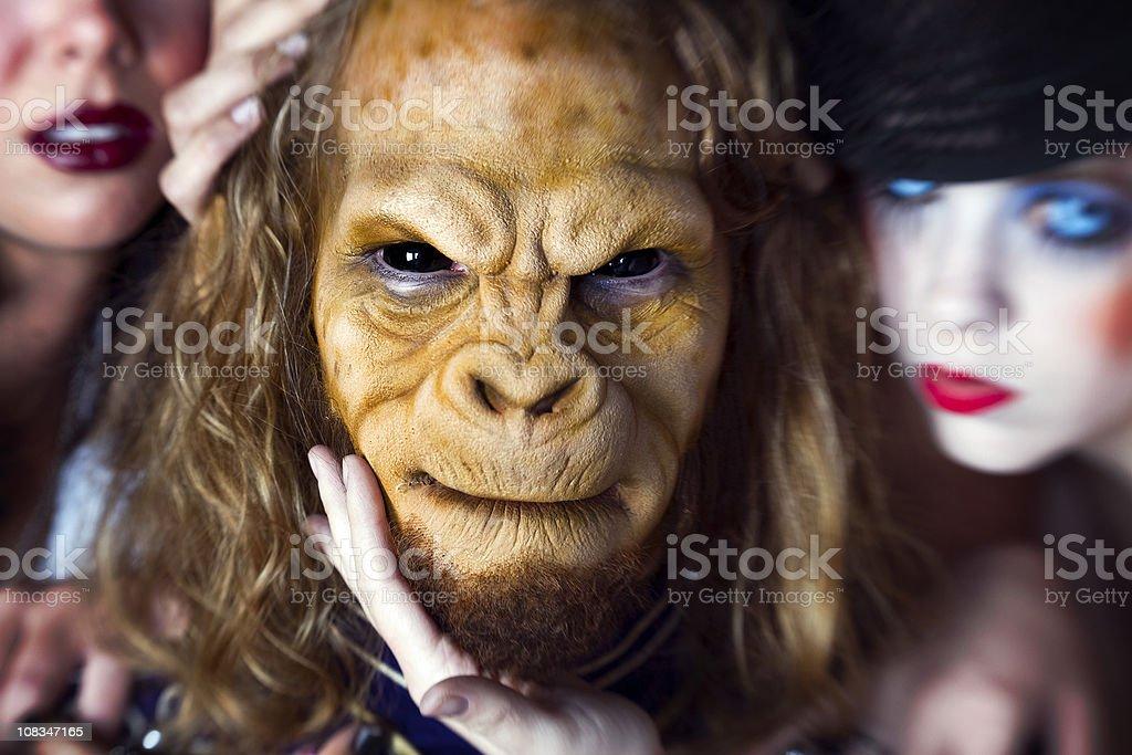 Monkey Man and Beautiful Women royalty-free stock photo
