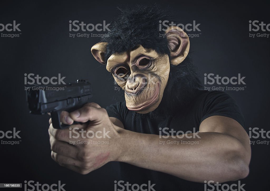 Monkey man robber holding a gun royalty-free stock photo