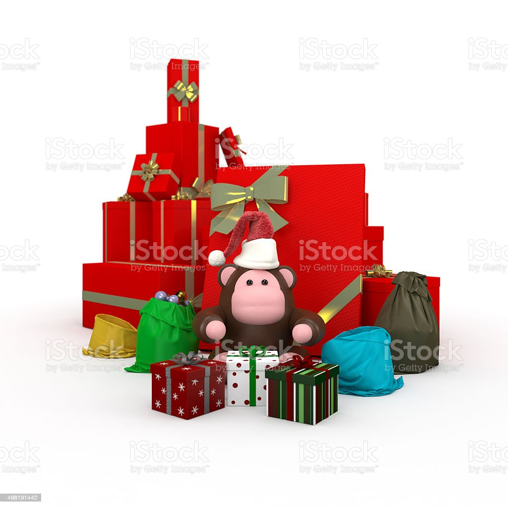Monkey near Boxes with gifts stock photo