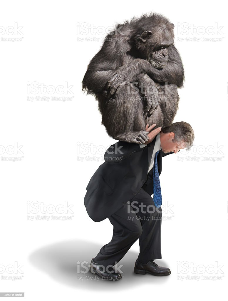 Monkey on Your Back Drug Addiction Financial Burden stock photo