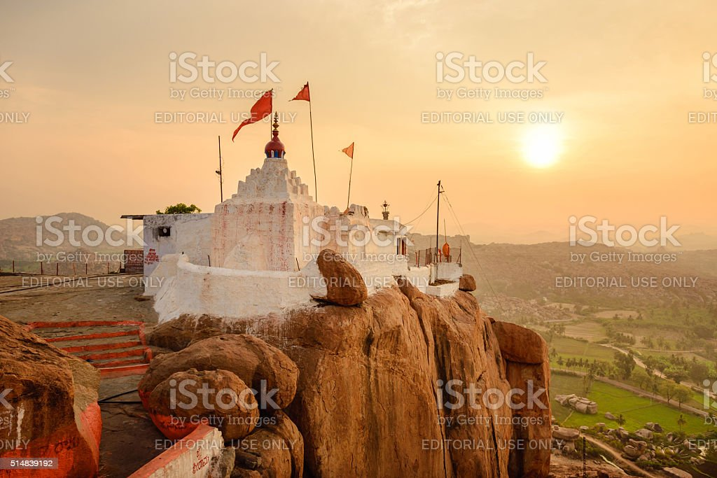 Monkey temple at sunrise in Hampi stock photo