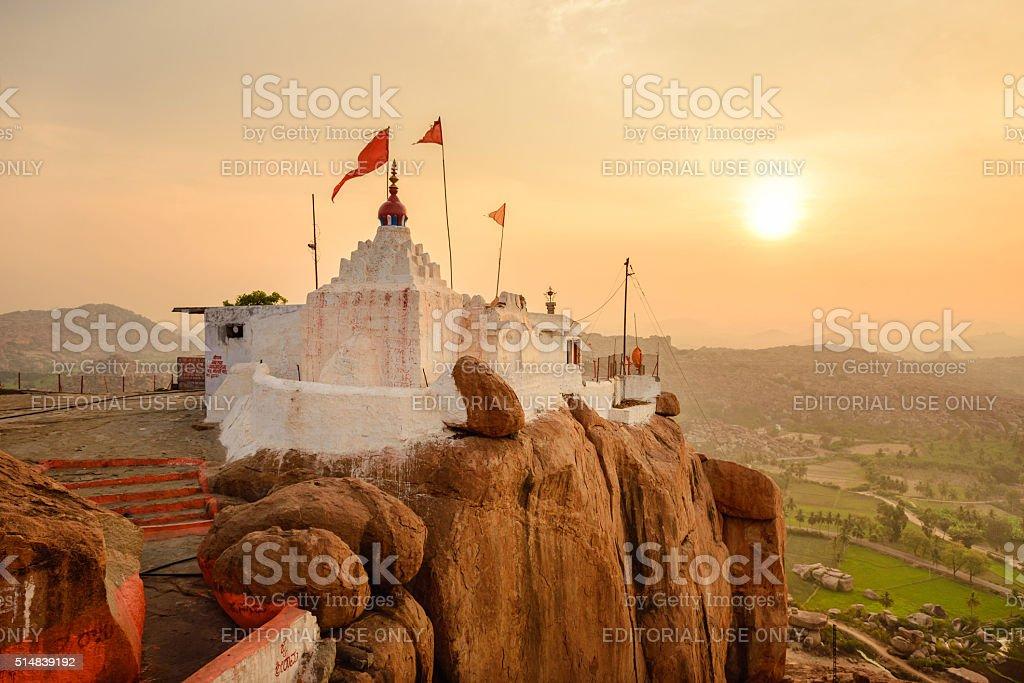 Monkey temple at sunrise in Hampi stock photo