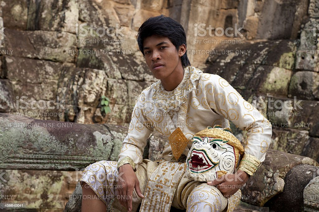 Monkey-warrior dancer at Angkor in Cambodia royalty-free stock photo