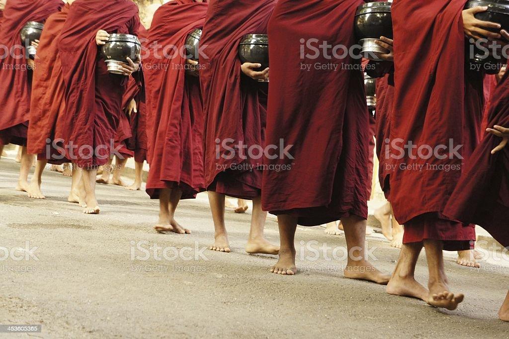 monkfeet monastery 3d people red walk royalty-free stock photo