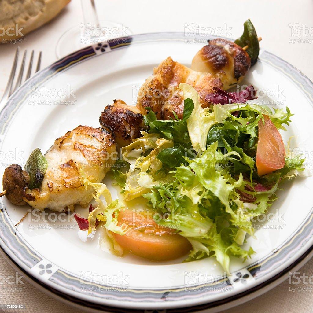 monkfish and scallop brochette stock photo