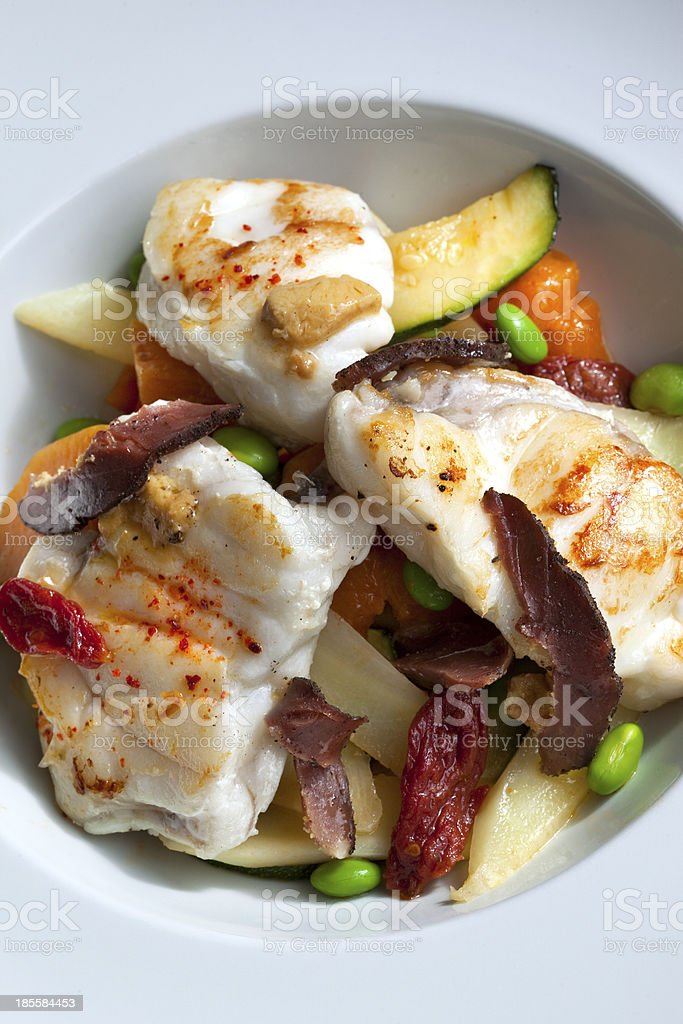 Monkfish and vegetables royalty-free stock photo