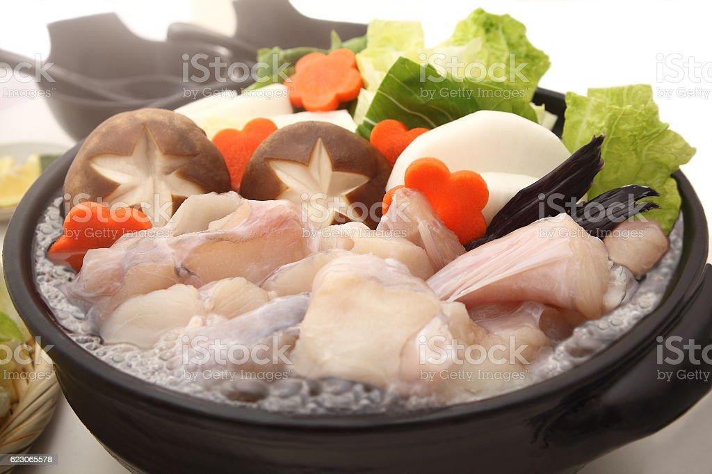 Monkfish Hot Pot, Japanese food stock photo