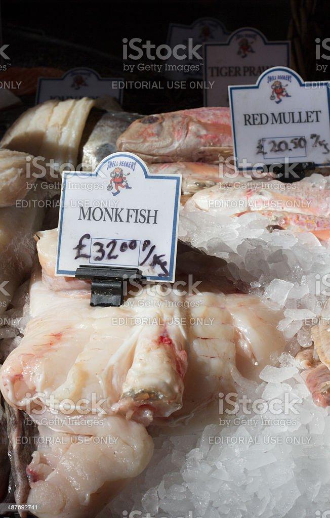 Monkfish in Borough Market, London stock photo