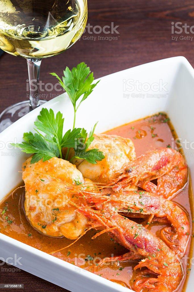 Monkfish with prawn stock photo