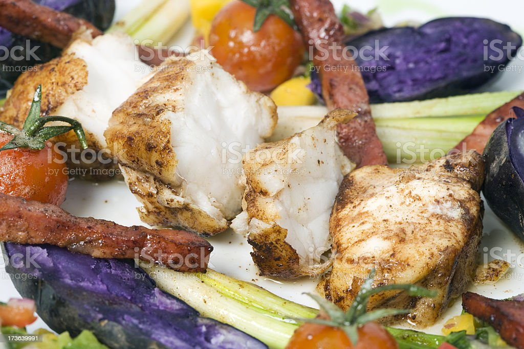 monkfish with vegetables and potato royalty-free stock photo