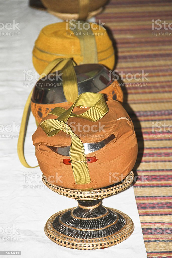 monk's alms bowls royalty-free stock photo