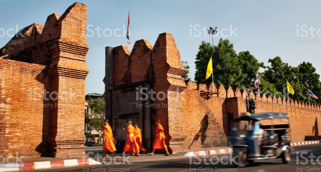 Monks and a Tuktuk in Chiang Mai, Thailand stock photo